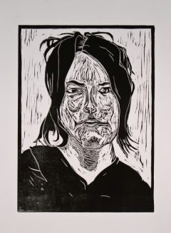"Sue Webster Lino Cut 9"" x 12"" image on 11"" x 15"" paper"