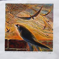 Chimney Swift Hand Coloured Lino Cut Print