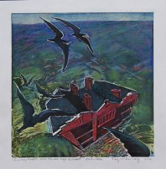Chimney Swift Hand Coloured Lino Block Print