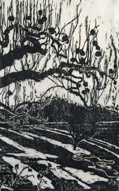 Apple Orchard - Woodblock Print