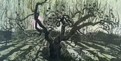 Apple Tree in Orchard - Woodblock Print