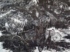 Bikes Under Mango Tree - Woodblock Print