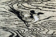 Bird on Beach - Woodblock Print