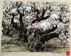 Cherry Tree - Woodblock Print Hand Coloured