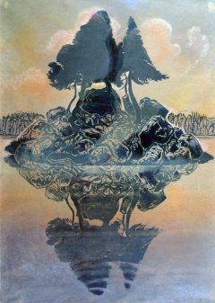 Island Reflected - Woodblock Print Hand Coloured